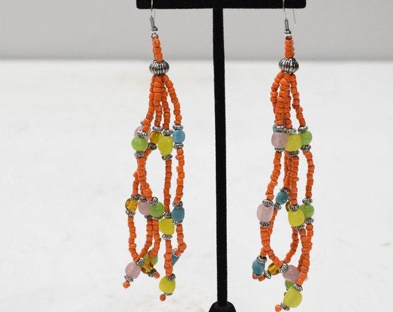 Earrings Orange Long Beaded Earrings