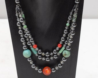 Necklace Hematite Coral Turquoise Necklace