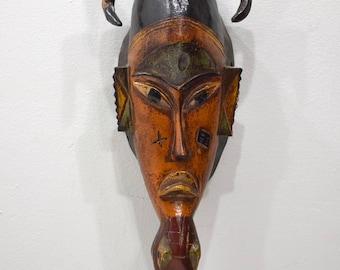 African Mask Baule Orange Wood Mask Mask Ivory Coast