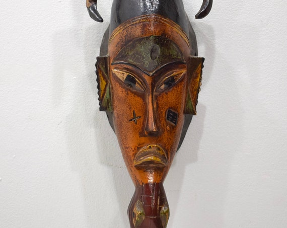 African Mask Baule Orange Wood Mask Mask Ivory Coast