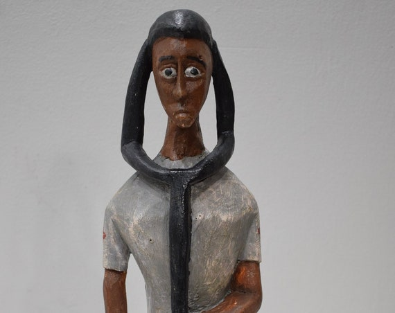 African Statue Colonial Female Doctor Statue  Carved Wood Doctor Female Statue