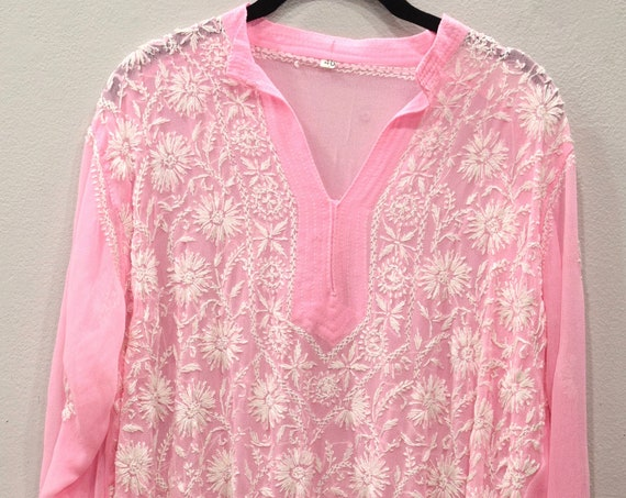 Tunic India Light Pink Crepe Tunic and Scarf
