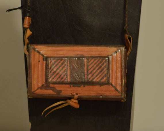 African Purse Square Leather Hand Painted Mossi Burkina Faso Vintage African Purse