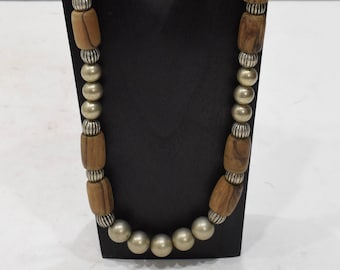 Necklace Natural Olive Wood Brushed Silver Necklace