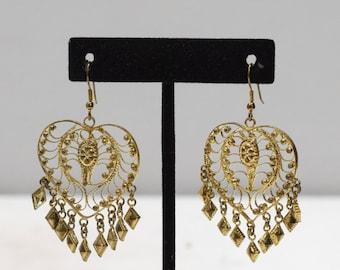 Earrings India Brass Heart Dangle Earring
