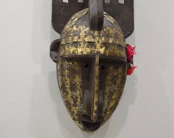 African Mask N'tomo Wood Brass Bamana Horned Mask