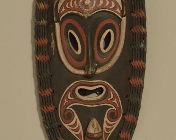 "Papua New Guinea Mask Teacher East Sepik Wood Rattan Dream Mask  21  1/2"""