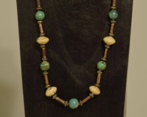 Necklace Chinese Turquoise Tiger Coral Beads Handmade Natural Women Jewelry Necklace