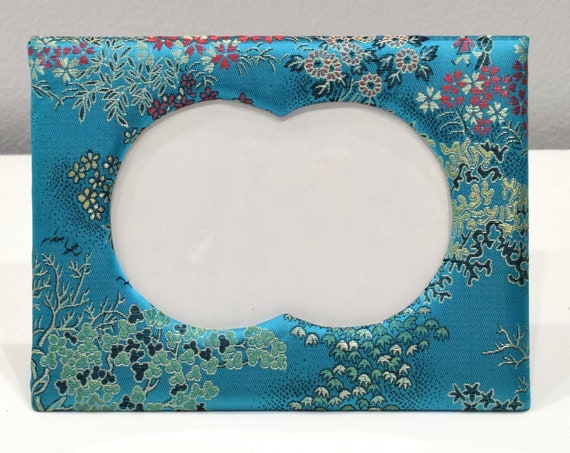 Picture Frame Chinese Floral Turquoise Satin Brocade  Frame 5x7
