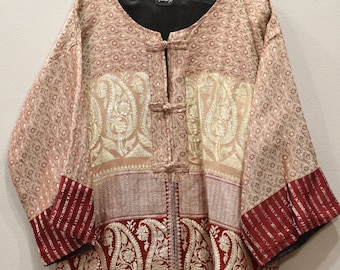 Jacket Silk Beige Red Brocade Jacket