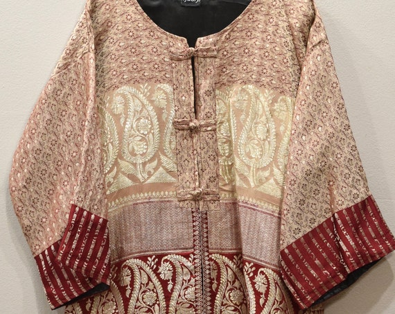 Jacket Silk Beige Red Brocade Jacket