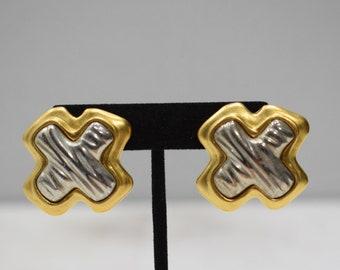 Earrings Matte Gold Pewter Clip Earrings