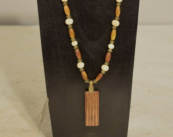 Necklace India Perfume Bottle Brown Horn Bone Beaded Handmade Perfume Bottle Casual Fun Jewelry Necklace