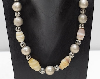 Necklace African Agate Silver Bead Necklace