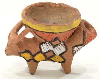 African Tonga Painted Clay Pipes
