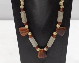 Necklace African Agate Glass Bead Necklace