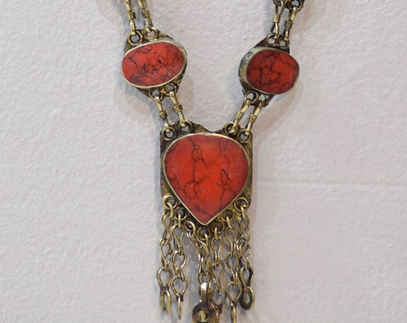 """Necklace Middle East Simulated Heart Coral Tribal Necklace 24.5"""""""