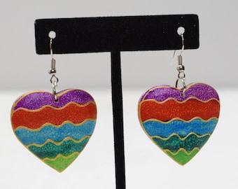 Earrings Painted Wood Hearts