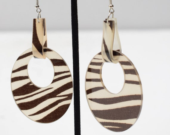 Earrings Brown White Animal Print Earrings