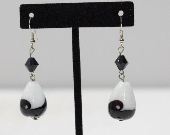 Earrings Glass Black White Earrings