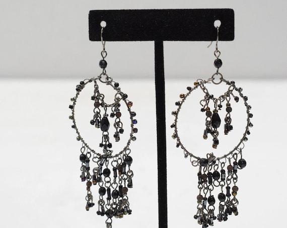 Earrings Black Beaded Hoop Earrings