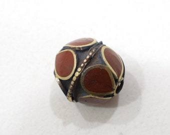 Beads Middle Eastern Coral Brass Oval Beads 15mm