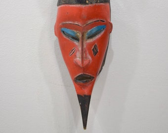 African Mask Baule Red Wood Mask Mask Ivory Coast