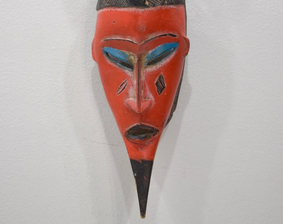 African Mask Baule Red Wood Mask Mask Ivory Coast