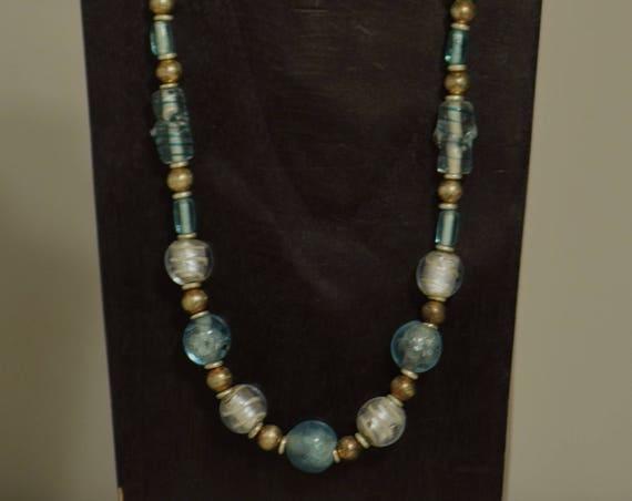 Necklace Light Blue Czech Glass Opalesent Glass Handmade Blue Round Beads Tubes Silver Opalescent Beaded Necklace
