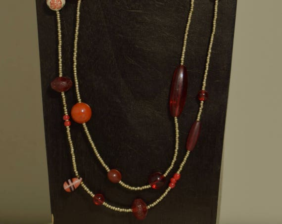 Necklace Africa Red Glass Porcelain Cinnabar Buri Nut Silver Hand Beaded Jewelry Necklace