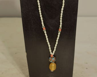 Necklace Nepal Silver Turquoise Coral Amber White Glass Beaded Handmade Womans Casual Suit Necklace Jewelry