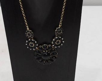Necklace Black Black Flower Rhinestone Necklace