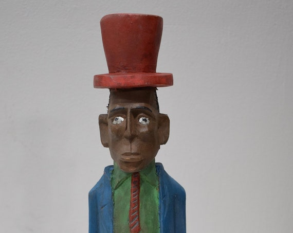 African Statue Colonial Male West Top Hat African Wood Colonial Figure