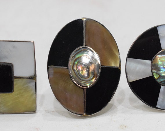 Ring 3 Inlaid Mother of Pearl Adjustable Rings Indonesia