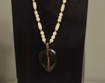 Necklace Lucite Heart Shape Perfume Bottle Bone Beads Handmade Jewelry Lucite Bottle Bone Gold Beaded Necklace