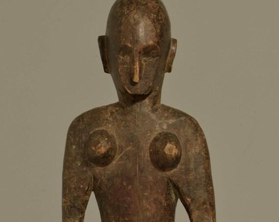 African Bamana Female Statue Mali Handmade Male Society Fertility Initiation Ceremonial Female Statue