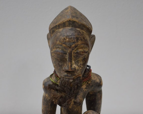 African Statue Baule Female Carved Wood Ivory Coast