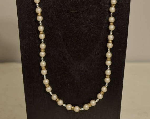Necklace Brushed Silver Gold Bright Silver Beaded Handmade Silver Jewelry Necklace