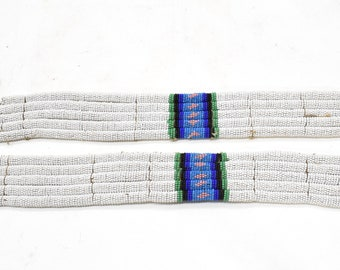 African Zulu Old Pair Beaded Anklets RSA