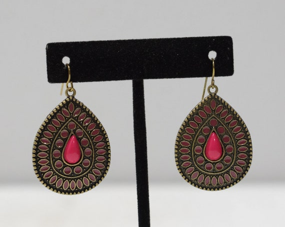 Earrings Brass Red Peacock Earrings