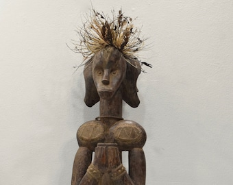 African Fang Reliquary Three Faces Guardian Figure Gabon