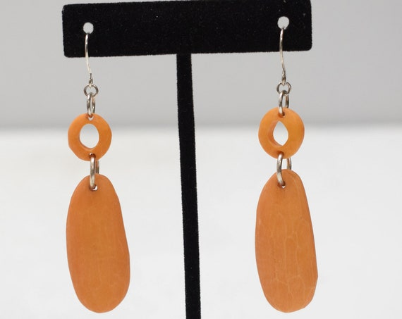 Earrings Orange Wood Earrings