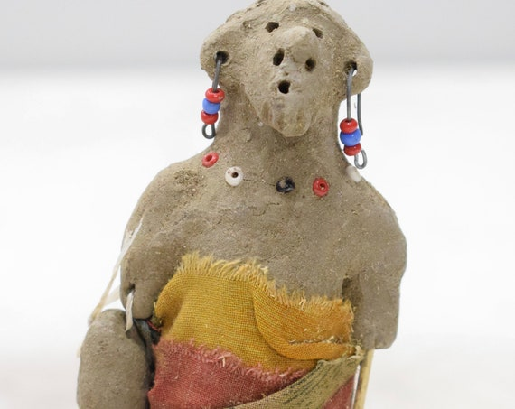 African Painted Clay Wise Men Nativity Doll Samburu Kenya