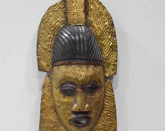 African Mask Bakota Reliquary Copper Gabon Mask 25""