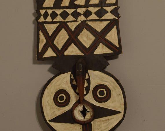 African Mask Bobo Buni Plank Mask Burkina Faso Handmade Mask Dancing Initation Power Brown Beige Plank Mask