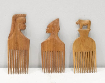 African Hair Pick Carved Figure Mahogany Hair Pick Brush