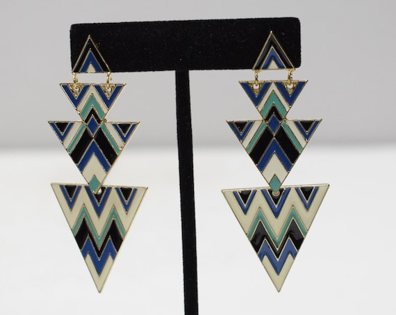 Earrings Colorful Art Deco Post Earrings