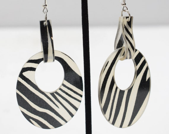 Earrings Black White Animal Print Earrings