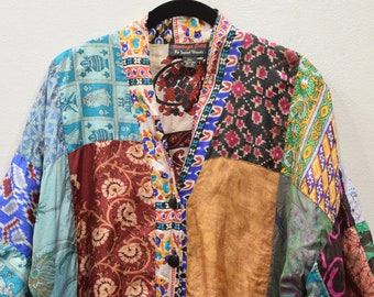 Jacket India Patchwork Silk Shirt Jacket