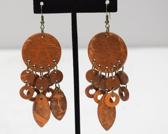 Earrings Brown Coconut Dangle Earrings